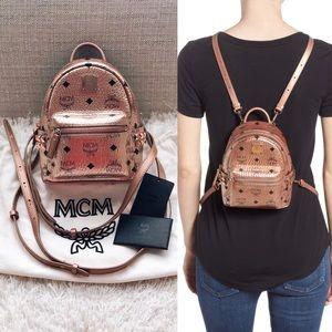 MCM X Mini Stark Bebe Boo Visetos Studded Backpack